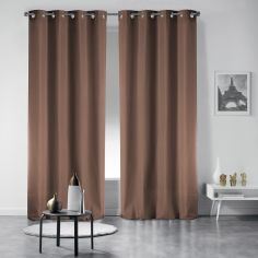Pair of Occult Plain Blackout Eyelet Curtains - Hazelnut Brown
