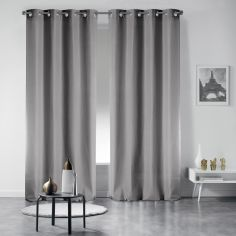Pair of Occult Plain Blackout Eyelet Curtains - Pearl Grey