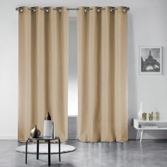 Pair of Occult Plain Blackout Eyelet Curtains - Cream