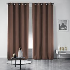Pair of Occult Plain Blackout Eyelet Curtains - Brown