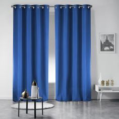 Pair of Occult Plain Blackout Eyelet Curtains - Indigo Blue