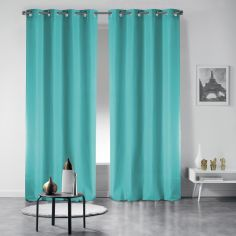 Pair of Occult Plain Blackout Eyelet Curtains - Sky Blue