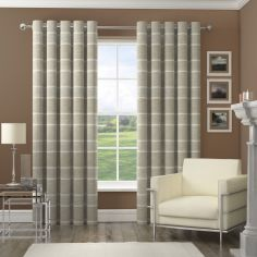 Harlem Striped Sequin Eyelet Fully Lined Curtains - Natural