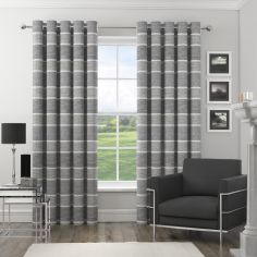 Harlem Striped Sequin Eyelet Fully Lined Curtains - Silver Grey