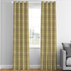 Mull Mustard Check Made to Measure Curtains