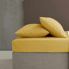 Catherine Lansfield Easy Iron Percale Standard Pillowcase Pair - Ochre Yellow