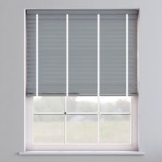 Faux Wood Venetian Blind With Tape - Pewter Grey & White