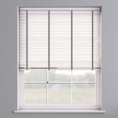 Faux Wood Venetian Blind With Tape - True White & Dark Grey