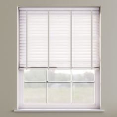 Faux Wood Venetian Blind With Tape - True White & Light Grey