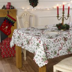 Holly Christmas Tablecloth - Red Multi