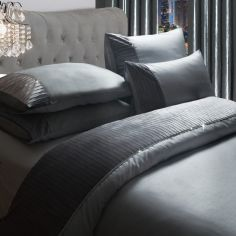 Byron Diamante Crushed Velvet Duvet Cover Set - Silver Grey