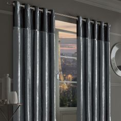 Byron Diamante Crushed Velvet Fully Lined Ring Top Curtains - Silver Grey