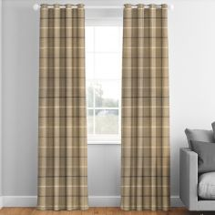 Mull Latte Check Made to Measure Curtains