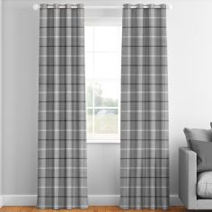 Grey Mull Check Made to Measure Curtains