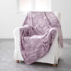 Gatsby Soft Flannel Throw with Printed Leaves - Pink