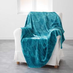 Gatsby Soft Flannel Throw with Printed Leaves - Aqua Blue