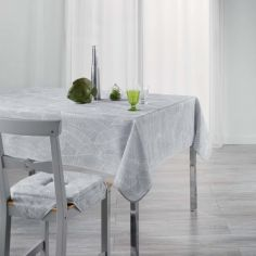 Gatsby Tablecloth with Printed Leaves - Grey