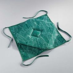 Gatsby Seat Pad with Printed Leaves - Green