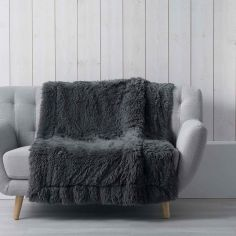 Marilou Faux Fur Throw Blanket - Charcoal Grey