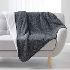 Moscou  Chevron Throw with Sherpa Backing - Charcoal Grey