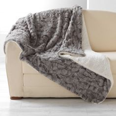 Eskimo Supersoft Faux Fur Throw with Sherpa Backing - Taupe