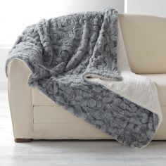 Eskimo Supersoft Faux Fur Throw with Sherpa Backing - Grey