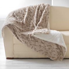 Eskimo Supersoft Faux Fur Throw with Sherpa Backing - Natural