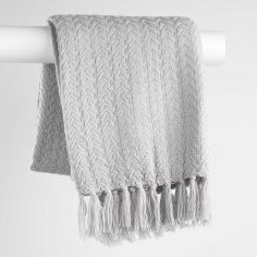 Romae Acrylic Knitted Throw with Tassels - Grey