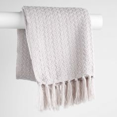 Romae Acrylic Knitted Throw with Tassels - Taupe