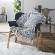 Solys Woven Cotton Throw with Fringe Tassels - Grey