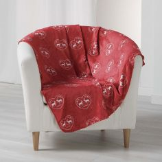 Edelweiss Heart Soft Flannel Throw - Red