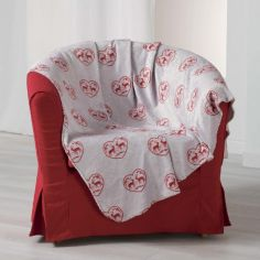 Edelweiss Heart Soft Flannel Throw - Natural & Red