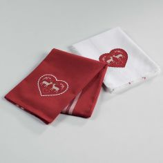 Edelweiss Heart Set of 2 Embroidered Cotton Kitchen Towels - Red