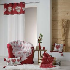 Edelweiss Heart 100% Cotton Curtain Panel with Ring Top - Red