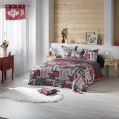 Edelweiss Heart Printed Microfibre Bedspread - Red & Grey