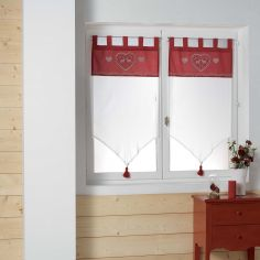 Edelweiss Heart Voile Blind Pair with Tab Top & Tassels - White Red