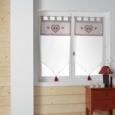 Edelweiss Heart Voile Blind Pair with Tab Top & Tassels - White Natural
