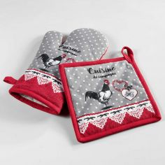 Gallinou Printed Cotton Kitchen Oven Glove & Pot Holder - Red & Grey