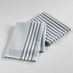 Popotte Woven Cotton 2 Kitchen with Towels - Grey
