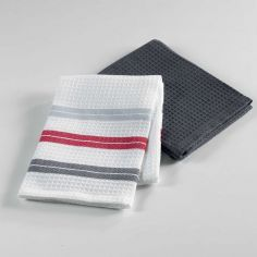 Popotte Cotton Honeycomb 2 Kitchen Towels - Grey