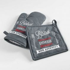Popotte Printed Cotton Kitchen Oven Glove & Pot Holder - Grey