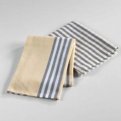 Hearty Woven Cotton 2 Kitchen Towels - Grey & Yellow