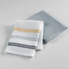 Hearty Cotton Honeycomb 2 Kitchen Towels - Grey & Yellow