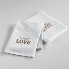 Hearty Embroidered Cotton 2 Kitchen Towels - White