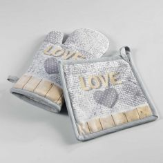 Hearty Printed Cotton Kitchen Oven Glove & Pot Holder - Grey & Yellow