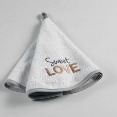 Hearty Embroidered Cotton Round Kitchen Hand Towel - White & Grey