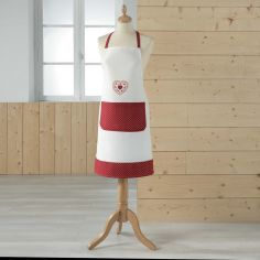 Monlisa Heart Embroidered Apron with Pocket - Red