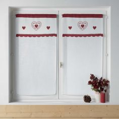 Monlisa Heart Embroidered Voile Blind Pair with Slot Top - Red