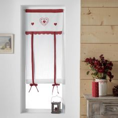 Monlisa Heart Embroidered Tie Up Voile Blind - Red