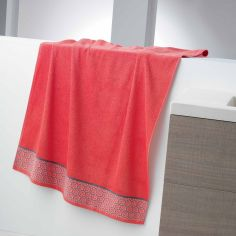 Adeline Jacquard 100% Cotton 450GSM Towel - Coral Orange